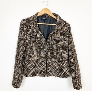 Rafaella Petite Blazer Black & Tan Ruffle Jacket